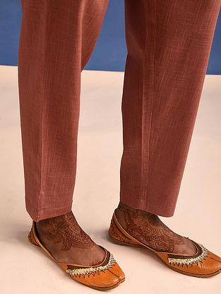 Rust Elasticated Waist Cotton Slub Pants
