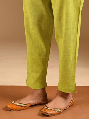 Lime Elasticated Waist Cotton Slub Pants