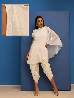 ANANDITA- Ivory Cotton Mul Embroidered Tunic with Lining