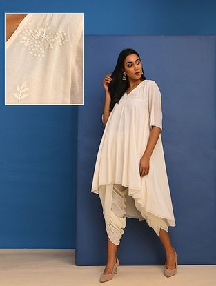 AISHA - Ivory Cotton Mul Embroidered Tunic