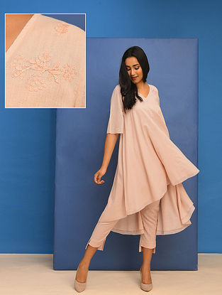 AANIYAH - Pink Cotton Mul Embroidered Tunic