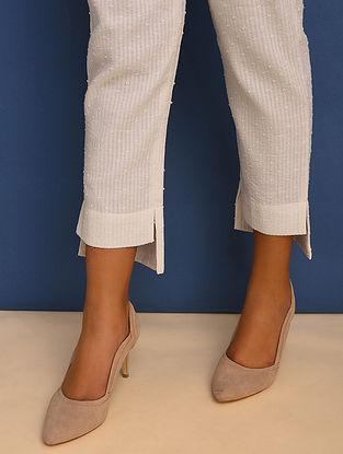 Ivory Elasticated Waist Cotton Dobby Pants