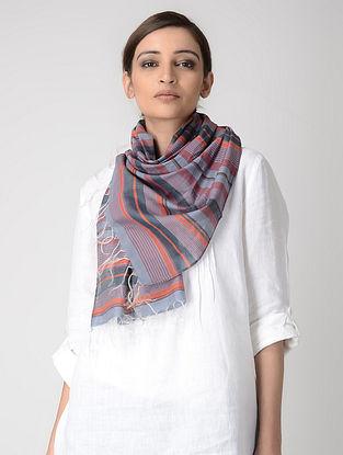 Grey-Orange Cotton-Silk Stole
