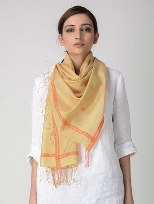 Yellow-Orange Jamdani Cotton-Silk Stole with Zari