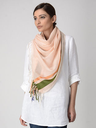 Peach-Green Cotton-Silk Stole