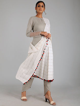 Ivory-Red Jamdani Cotton Dupatta with Tassels