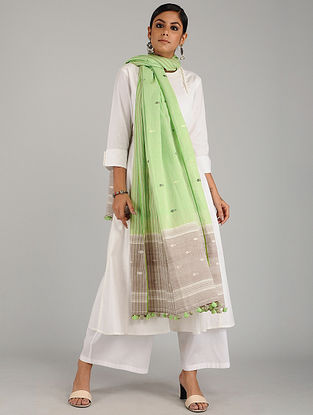 Green-Grey Jamdani Cotton Dupatta with Tassels
