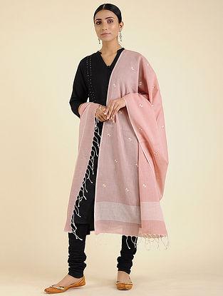 Pink-Ivory Jamdani Cotton Dupatta
