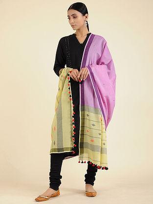 Purple-Yellow Jamdani Cotton Dupatta with Tassels