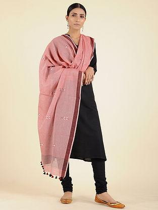 Pink-Maroon Jamdani Cotton Dupatta