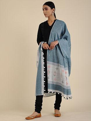 Blue-Ivory Jamdani Cotton Dupatta