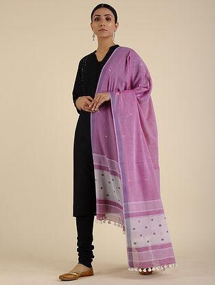 Purple Jamdani Cotton Dupatta with Tassels
