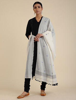 Ivory-Black Jamdani Cotton Dupatta