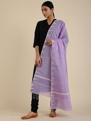 Purple-Ivory Jamdani Cotton Dupatta