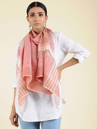 Pink-Ivory Jamdani Cotton Stole