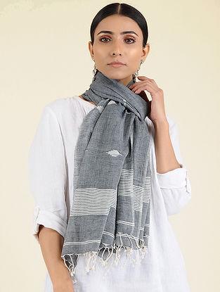 Grey-Ivory Jamdani Cotton Stole