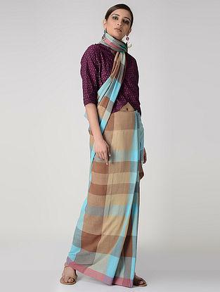 Beige-Turquoise Cotton Saree