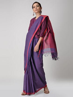 Blue-Red Cotton Saree