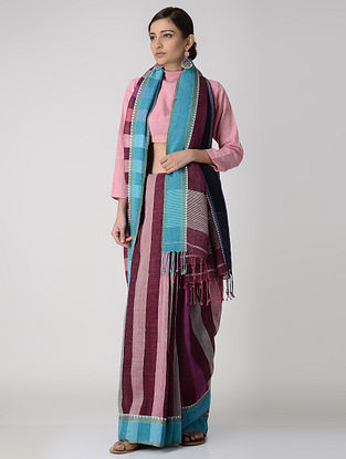 Maroon-Blue Linen Saree with Woven Border