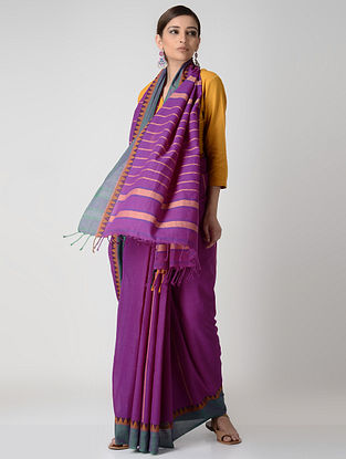 Purple-Green Cotton Saree with Woven Border