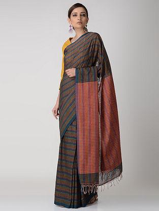 Brown-Orange Cotton Saree