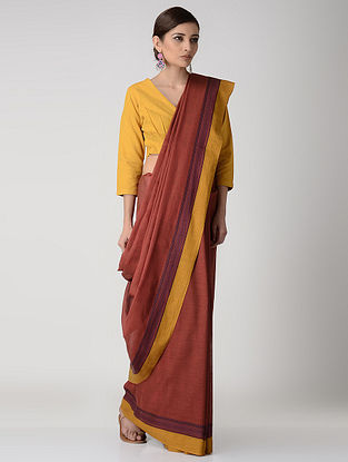 Red-Yellow Cotton Saree with Woven Border