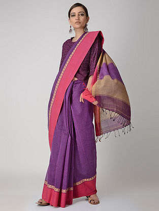Purple-Pink Cotton Saree with Woven Border