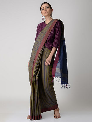 Olive-Blue Cotton Saree with Woven Border