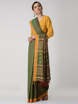 Green-Orange Cotton Saree