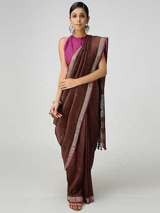 Maroon Cotton Linen Saree with Zari and Tassels