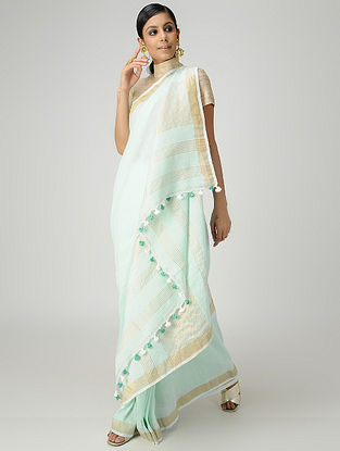 Sea Green Cotton Linen Saree with Zari and Tassels