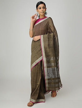 Brown Cotton Linen Saree with Zari and Tassels