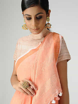 Peach Cotton Linen Saree with Zari and Tassels