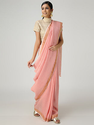 Pink Cotton Linen Saree with Zari and Tassels