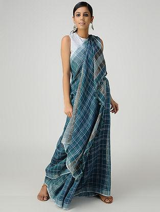 Blue-Ivory Linen Saree with Zari and Tassels