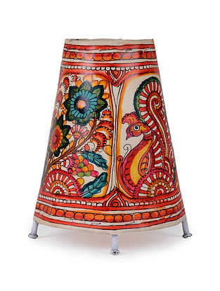 Multicolored Hand-painted Leather Lamp Shade with Peacock Motif (L:6in, W:6in, H:9.2in)