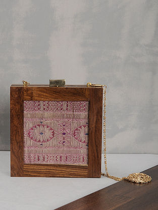 Multicolored Vintage Benarasi Silk Brocade Wooden Clutch