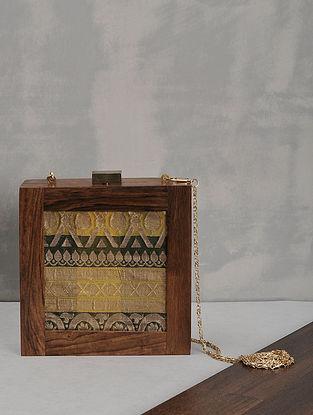 Multicolored Vintage Benarasi Silk Brocade Wooden Clutch
