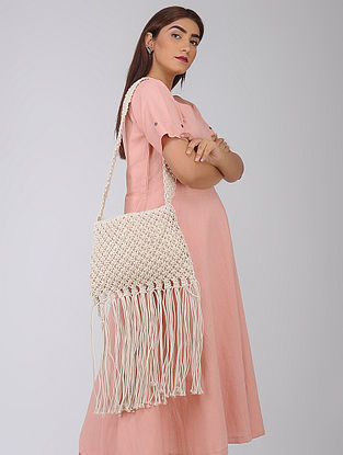 White Macrame Cotton Sling Bag with Fringes