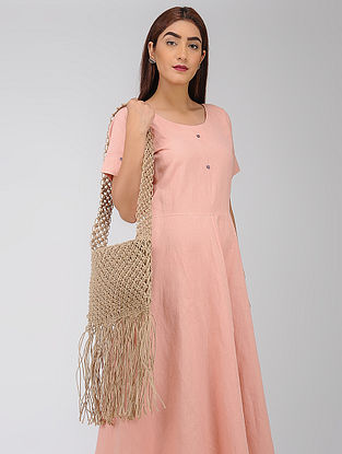 Beige Macrame Jute Sling Bag with Fringes