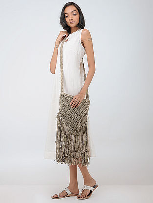 Beige Macrame Cotton Sling Bag with Fringes
