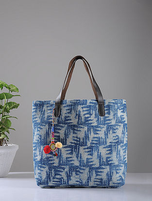Indigo Hand-printed Cotton Rug and Leather Tote with Tassels