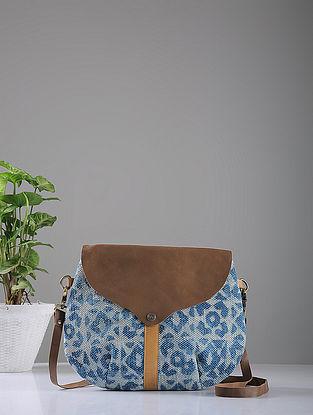 Indigo Hand-printed Cotton Rug and Leather Sling Bag