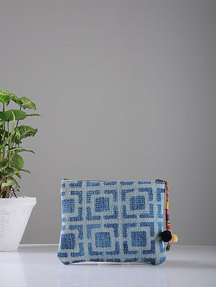 Indigo Hand-printed Cotton Rug and Leather Pouch with Tassels