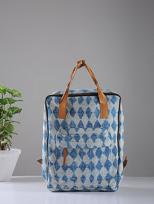 Indigo Hand-printed Cotton Rug and Leather Backpack