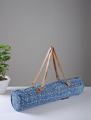 Indigo Hand-printed Cotton Rug and Leather Yoga Matt Bag