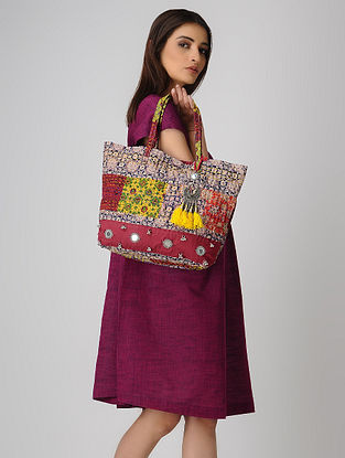 Red-Multicolored Kantha-Embroidered Cotton Tote with Metal Embellishments