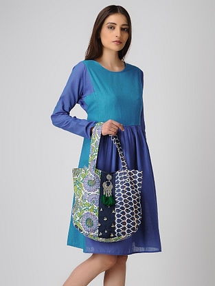 Blue-Green Kantha-Embroidered Cotton Round Tote with Metal Embellishments
