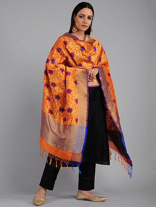 Orange-Purple Benarasi Art Silk Dupatta