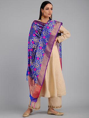 Blue-Pink Benarasi Art Silk Dupatta